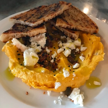 sweet meat squash born, savory granola, feta and flatbread