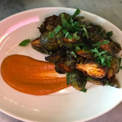 fried Brussel sprouts, muhammara, za'atar and preserved lemon