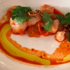 scallop crude, kimchi and puffed rice