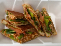 Veg-Wich Paneer Grill Sandwich: paneer bhurji, tomatoes, peppers, butter and chutney on white bread