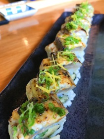 Ikina Sushi - Saba Bo rolled watercress, pickled ginger, cucumber, plum wine miso and saba seared to a beautiful perfection