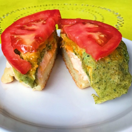 The Crumpet Shop: Rob's Favorite green egg, english cheese, tomato on smoked salmon spread