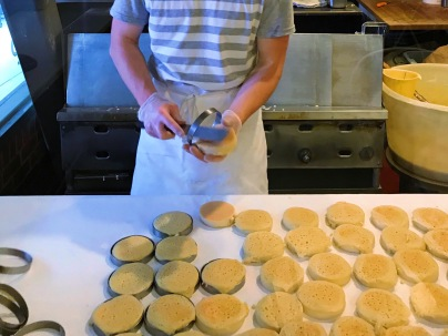 The Crumpet Shop: Crumpets being removed from molds