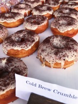 Raised Doughnuts Cold Brew Crumble yeast raised doughnut, Lighthouse Roasters cold brew glaze and coffee crumble