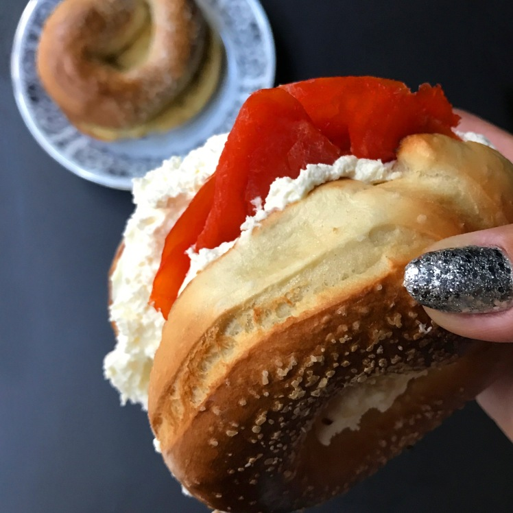 Ras Al Hanout Infused Butter & Cream Cheese and Lox on Salt Bagels