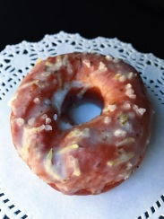 Raised Doughnuts Lemon Verbena yeast raised doughnut with lemon verbena glaze and pearl sugar