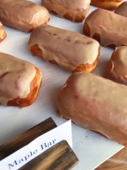 Raised Doughnuts Maple Bar yeast raised doughnut with maple glazed