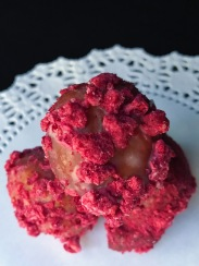 Raised Doughnuts Raspberry Holes yeast raised doughnut with vanilla glaze and freeze dried raspberries *my favorite❣️