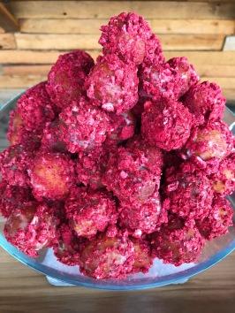 Raised Doughnuts Raspberry Holes yeast raised doughnut with vanilla glaze and freeze dried raspberries *my favorite❣️