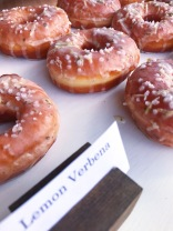 Raised Doughnuts Lemon Verbena yeast raised doughnut with lemon verbena glaze and pearl sugar