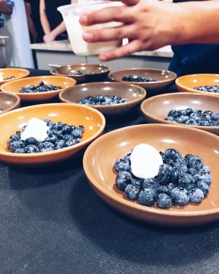 Macerated blueberries with lemon and cardamom cream