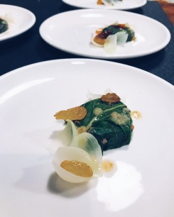 Swiss chard with toasted sunflower, sultanas and pickled onions
