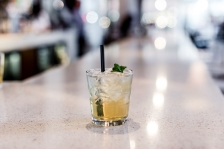 Lavender Spritz Cocktail: Sipsmith gin, St. Germaine, mint infused simple syrup, lavender bitters, soda