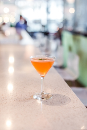 Jet City Cocktail: Sipsmith gin, Aperol, Fresh Lemon and Lime juice, basil infused simple syrup