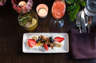 Yogurt Bowl: Ellenos Greek Yogurt @ellenosyogurt, bananas, fresh berries,  house-made granola and honey