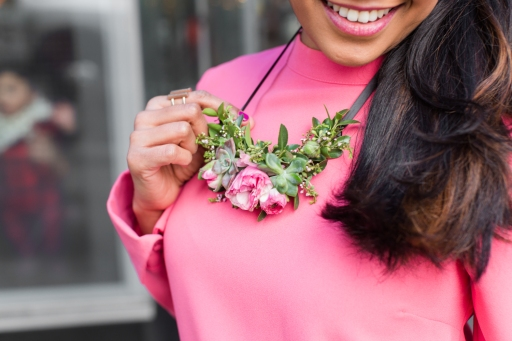 Kusum modeling floral necklace designed by Tammy