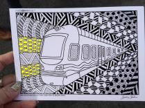 train coloring postcard 2