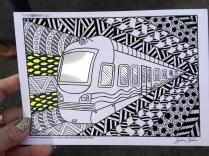 train coloring postcard 3