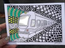 train coloring postcard 4