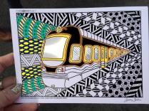 train coloring postcard 5