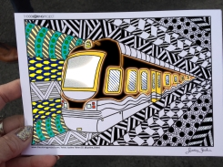 train coloring postcard 5