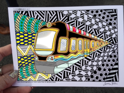 train coloring postcard 6