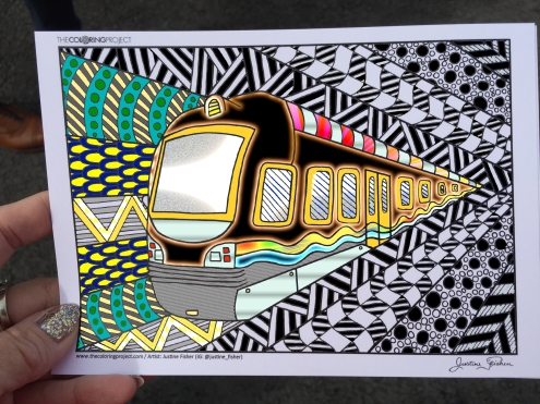 train coloring postcard 6
