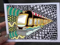 train coloring postcard 7
