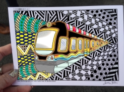 train coloring postcard 7
