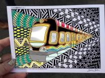 train coloring postcard 8
