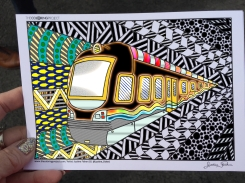 train coloring postcard 8