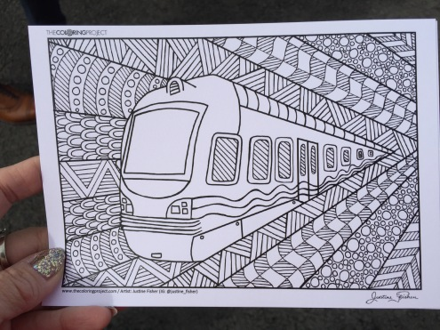 train coloring postcard